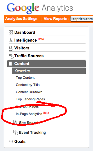 Google Analytics In-Page Analytics Left Hand Navigation