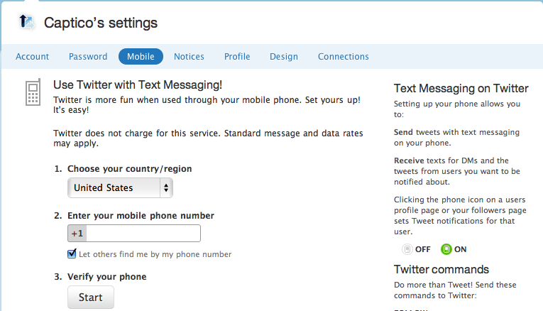 Twitter Captico Mobile Settings