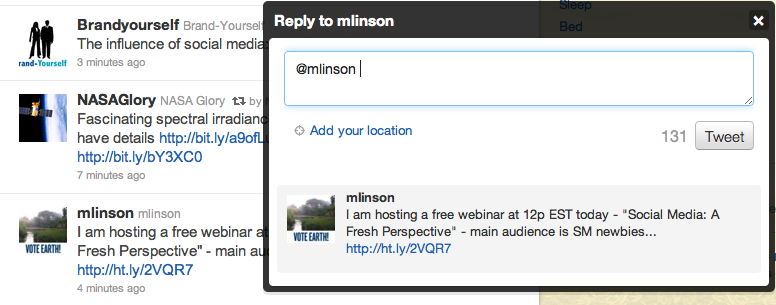 Reply to Twitter user @mlinson