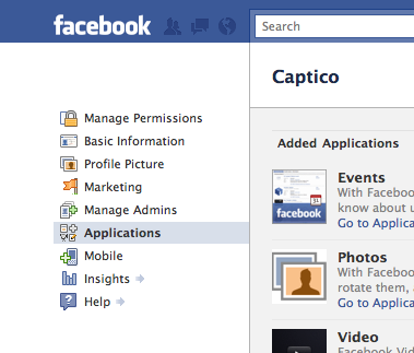 Facebook Edit Page for Captico Highlighting Applications