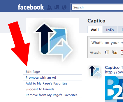 Facebook Page for Captico Highlighting Edit Page Button