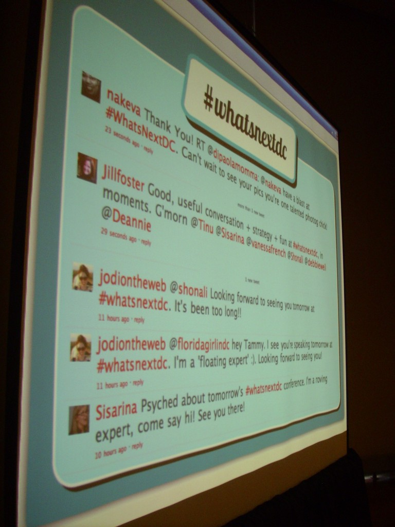 Live Twitter Feed Screen from Whats Next DC Conference 2011