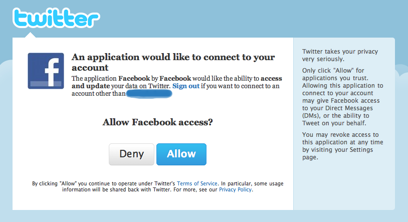 Twitter Authorization Page