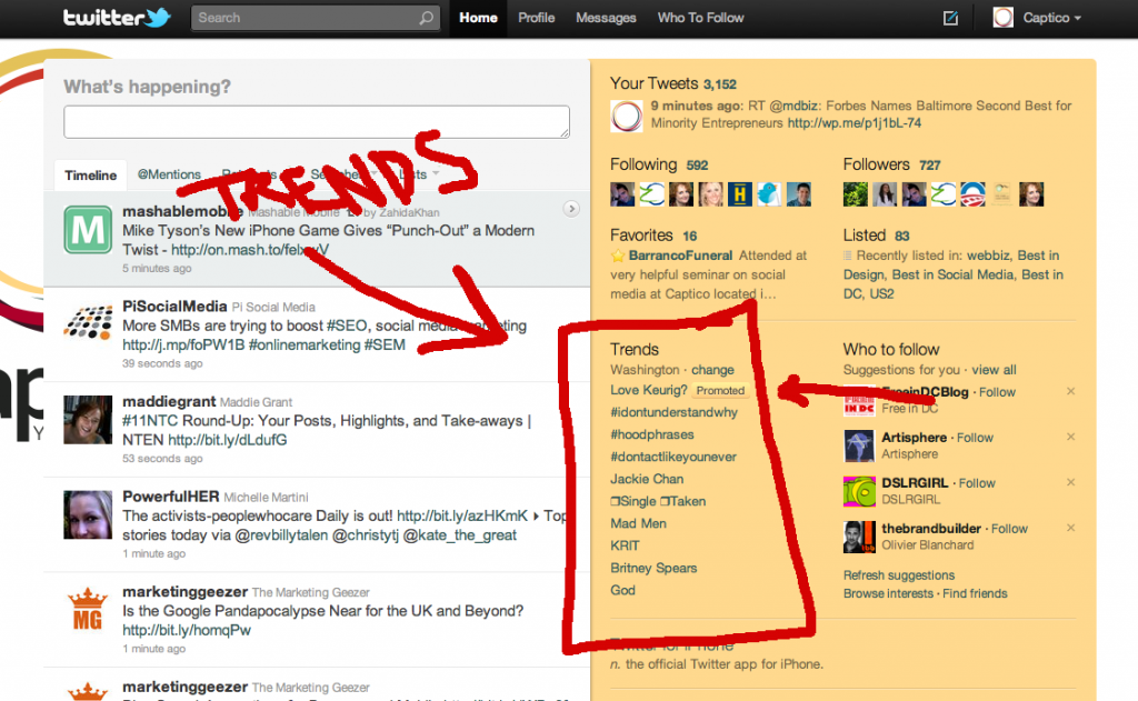 Twitter Trends as seen on Captico's Homepage