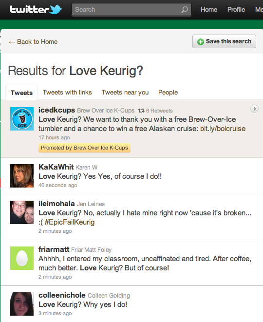 Twitter Trending Topics Results for Love Keurig